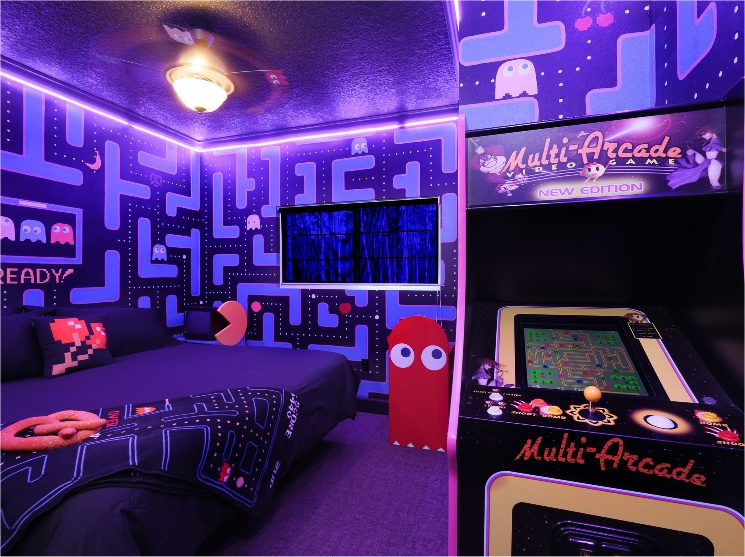 1980s video game bedroom starring Ms. Pac-Man