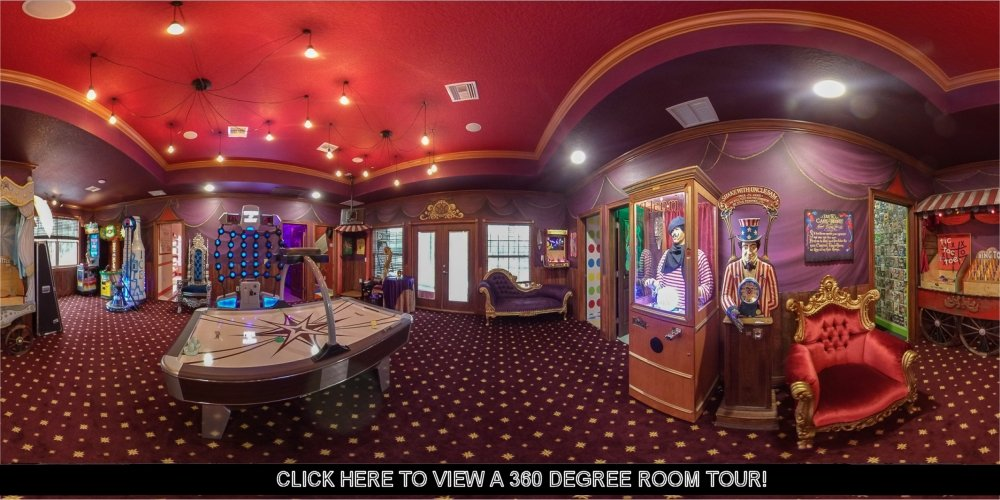 The Carnival Midway Room at Great Escape Parkside luxury vacation retreat rental