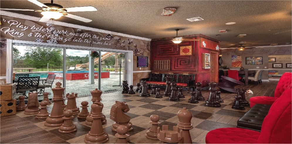 Chessboard floor at vacation rental home in the Disney and Orlando area