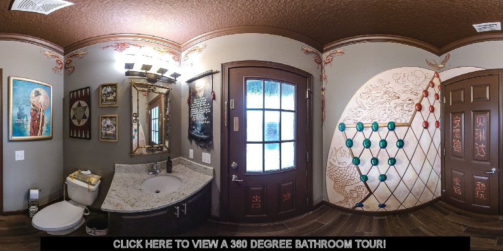 Asian-themed chinese checkers bathroom at Great Escape Parkside vacation home near Orlando