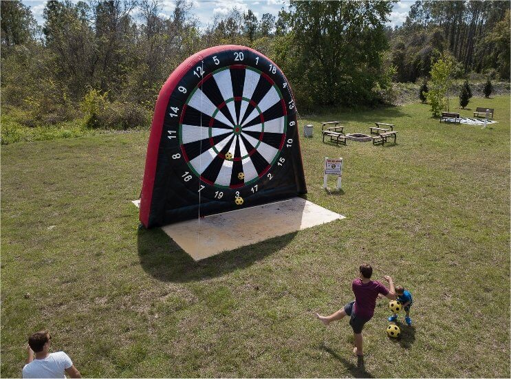 Giant inflatable soccer darts at the Great Escape Parkside
