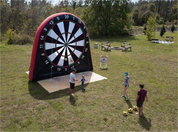 Giant inflatable dart game