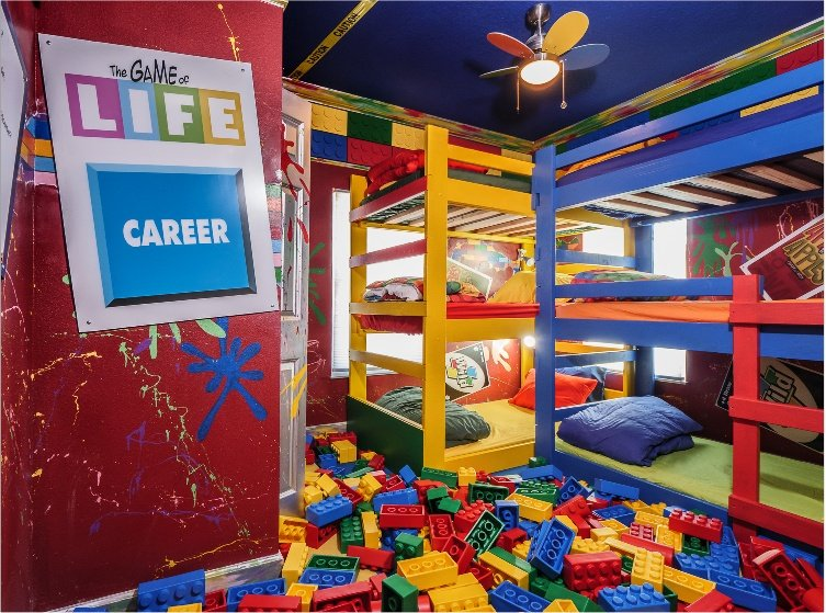 Great Escape Parkside is a luxury home rental featuring a bedroom with giant lego all over the floor!