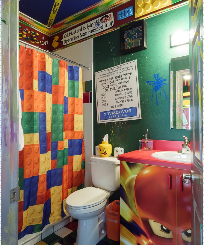 """Lego shower curtains and more in this bathroom at Great Escape Parkside - the """"game house"""" near Orlando"""