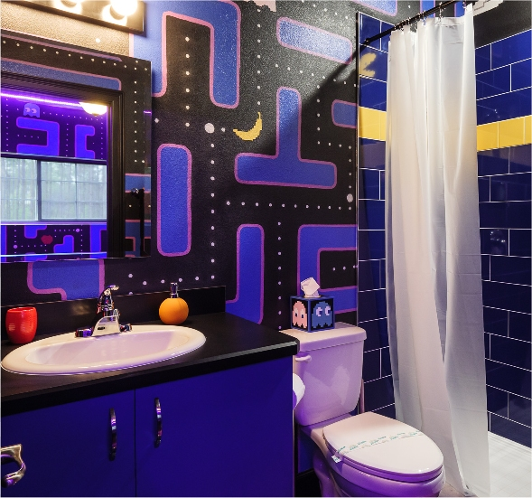 a Ms. Pac-Man themed bedroom