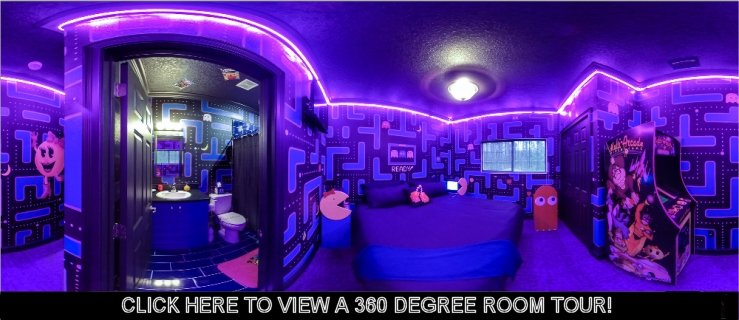 tour the Ms. Pac-Man 1980s video game bedroom at this vacation home rental