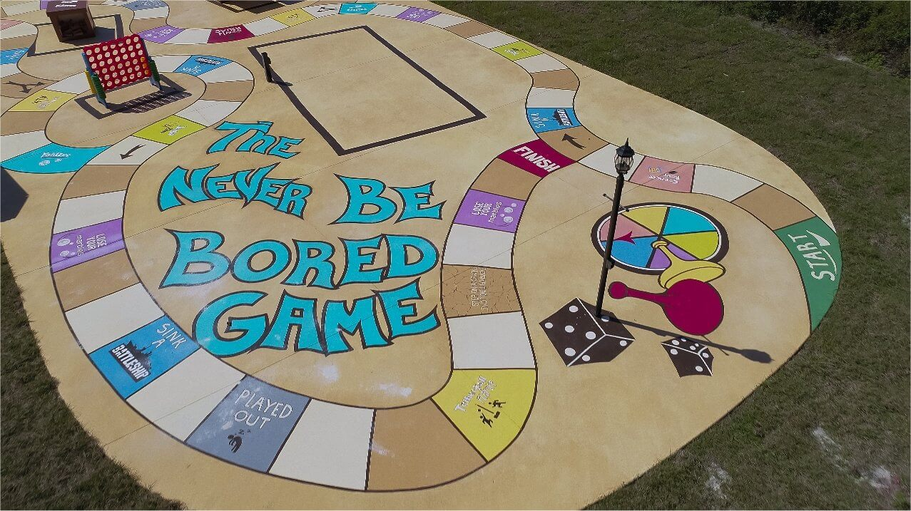 Giant outdoor concrete board game at Florida rental house for vacations and family reunions