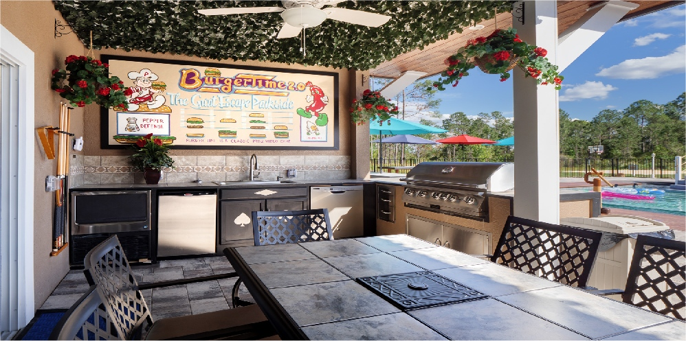 The outdoor summer kitchen at Great Escape Parkside vacation home rental near Orlando
