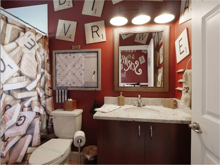 Scrabble-themed bathroom at Great Escape Parkside near Orlando, FL