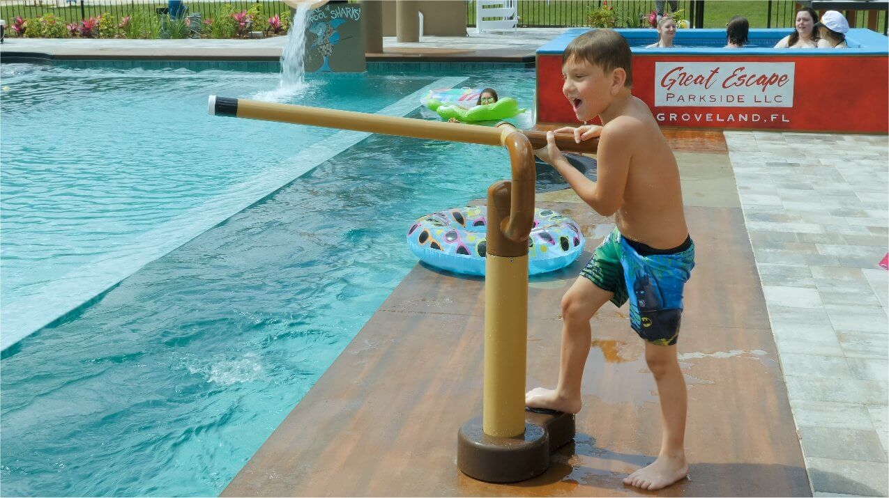 Shoot a water canon at the billiard swimming pool at Great Escape Parkside