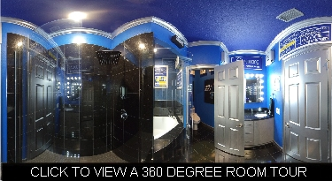 game show themed bathroom with granite floors