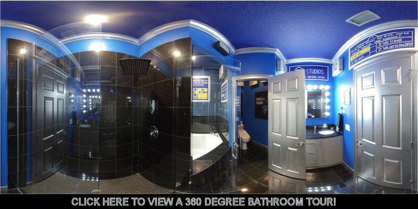 Great Escape game house's TV game show bedroom and bathroom