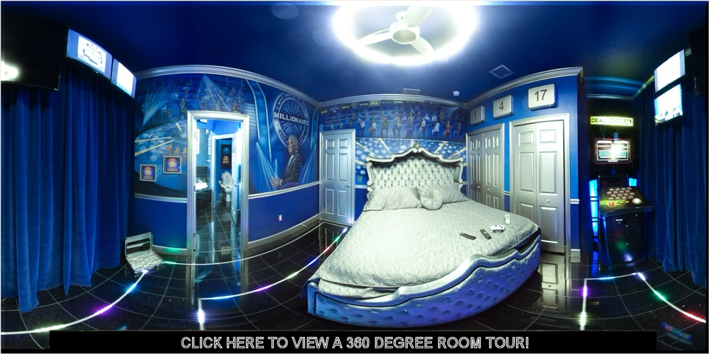 photo of bedroom featuring Deal or No Deal, Wheel of Fortune, and Who Wants to be a Millionaire game show fun